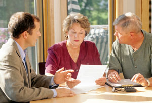 Senior couple discussing finances about annuities